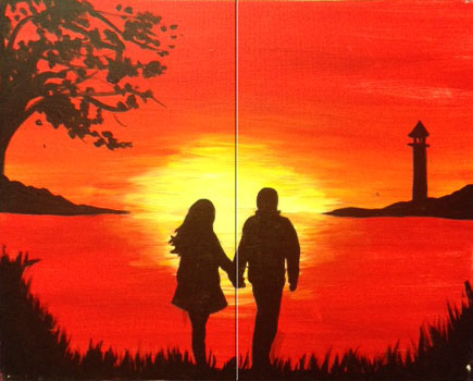 A Sunset Stroll - Pinot's Palette Painting