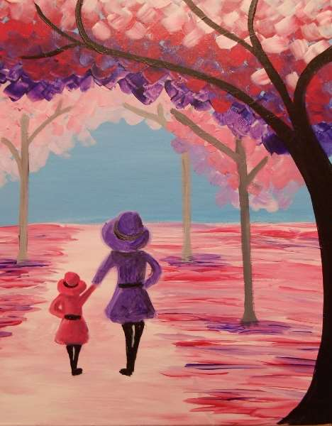 A Walk With Mom - Pinot's Palette Painting