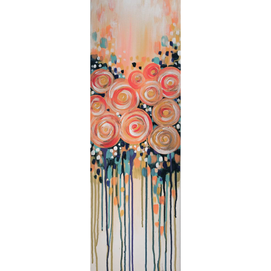 10 x 30 Canvas!  Apricot Roses