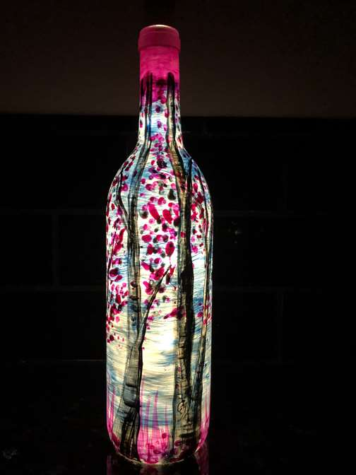 Aspens At Sunrise Wine Bottle Painting
