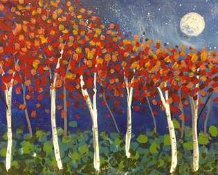 Aspens in the Moonlight