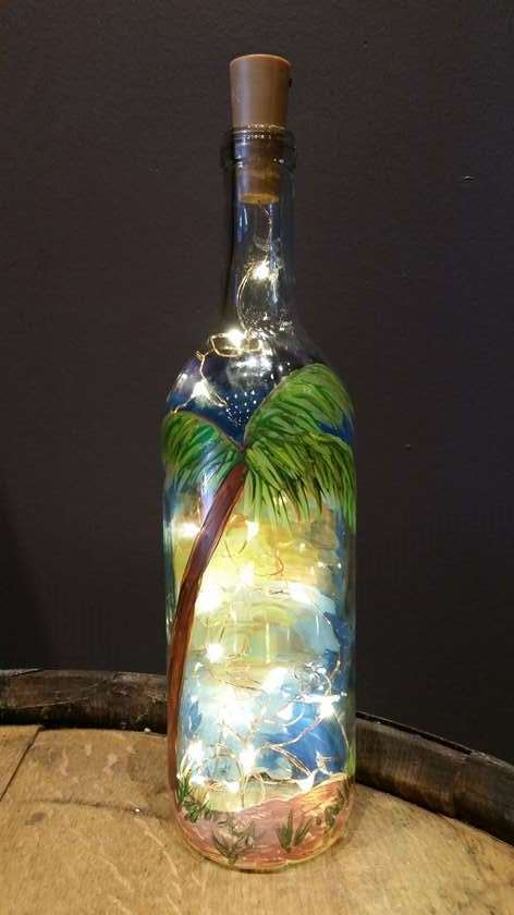 At the Beach Illuminated Wine Bottle - lights included