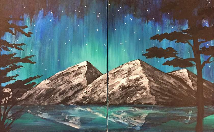 Aurora Mountain Magic - Date Night - 2 canvases, 1 pic