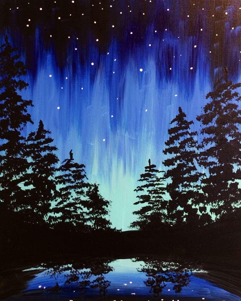 Aurora Through the Trees