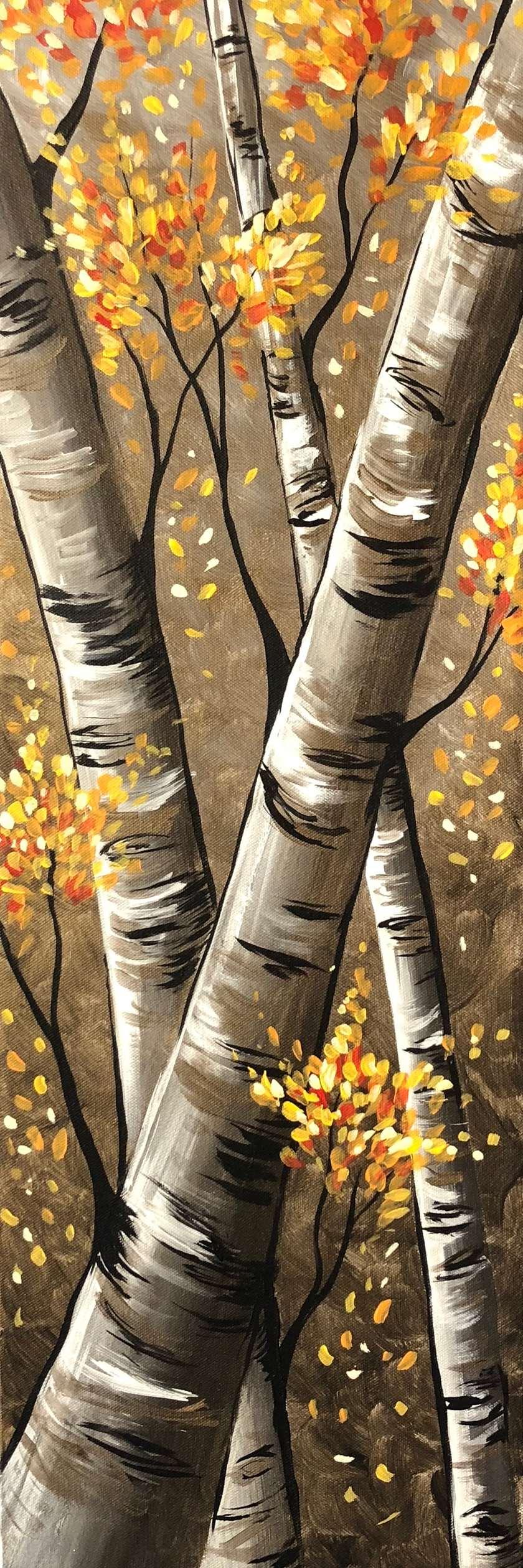 Autumn Birch Trees - 10x30 Canvas - $10 Off Bottles of Wine