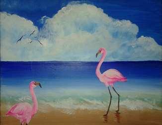 Beach Flamingos
