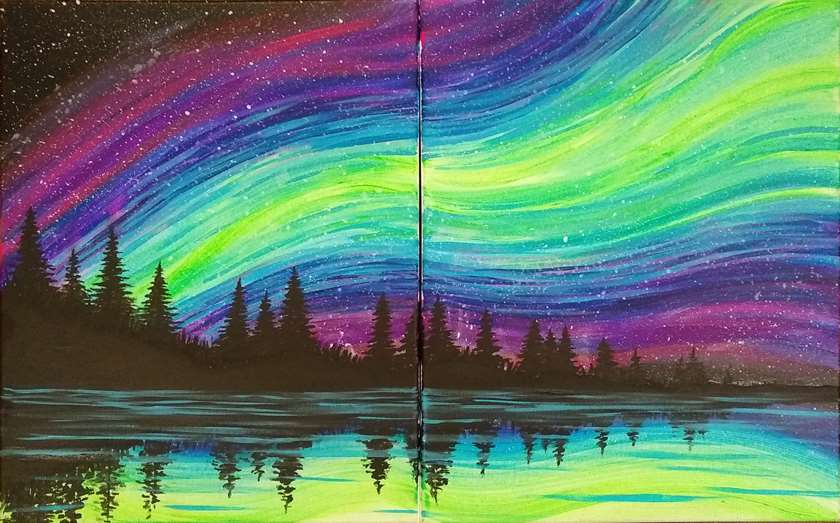 BLACK LIGHT DATE NIGHT or BFF NIGHT - Or paint Amore Borealis on 1 Canvas!