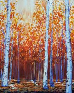 Birch Grove at Sunset