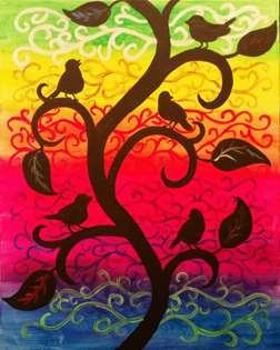 Birds on a Swirling Vine