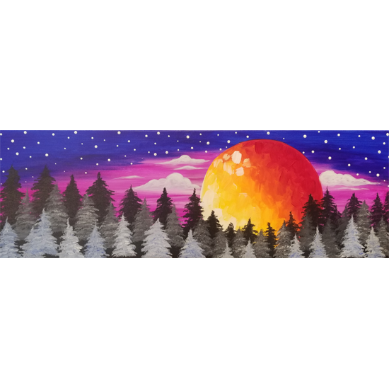 10 x 30 Canvas!  Blood Moon Forest