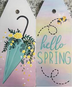 Bring In Spring Wood Door Tags