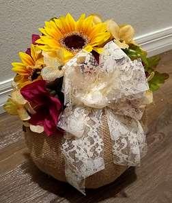 Burlap Pumpkin Bouquet