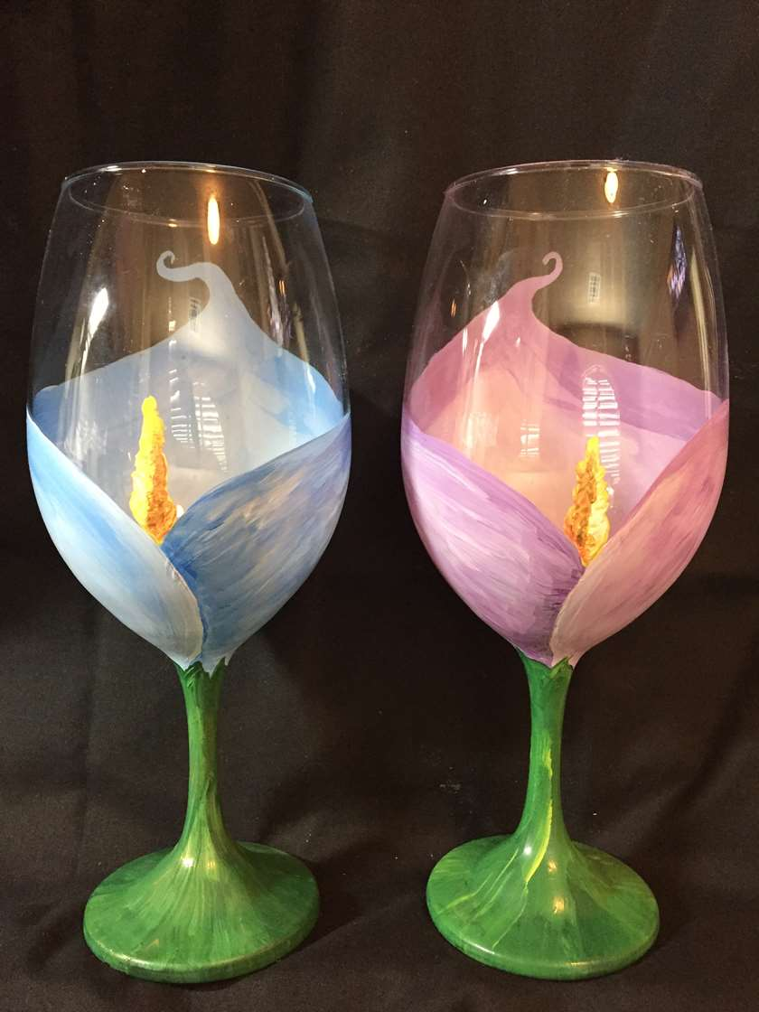 Calla Lily Wine Glasses
