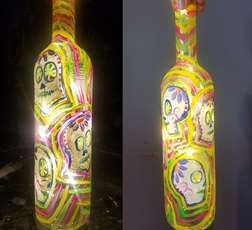 Candy Skull Wine Bottle