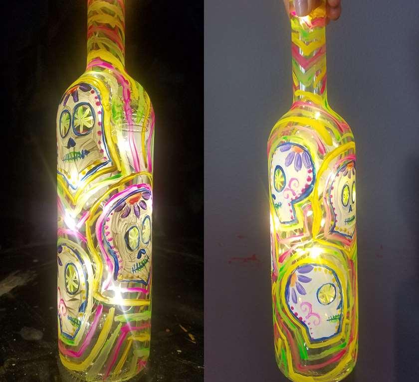 Candy Skull Wine Bottle