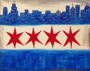 Chicago Flag Cityscape