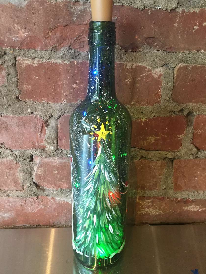 christmas tree wine bottle with multi color lights