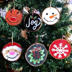 Christmas Wood Round Ornaments