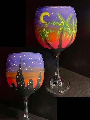 2 glasses per painter