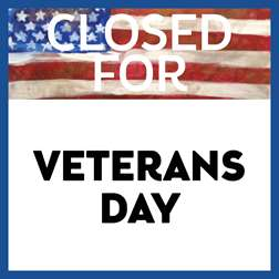 Closed for Veteran's Day