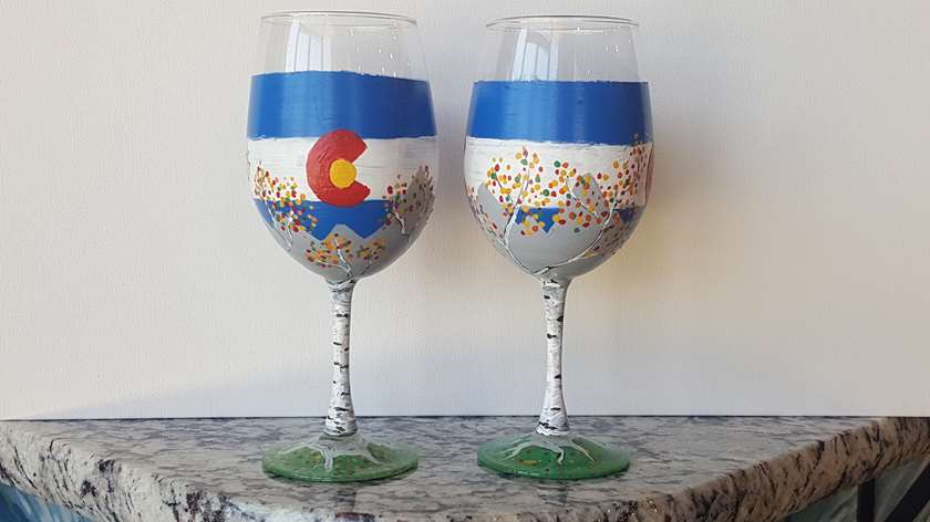 Colorado Fall Wine Glass