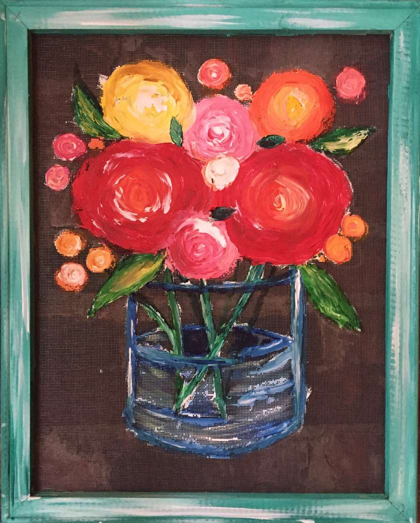 Colorful Blooms - Screen Painting