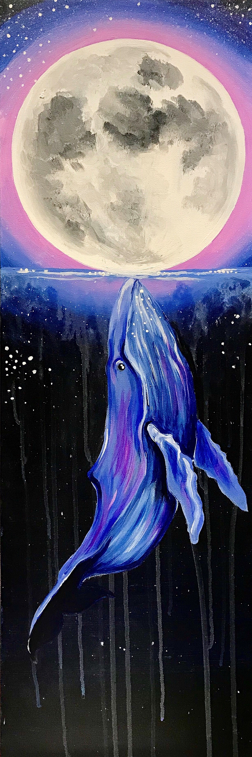 """Cosmic Kiss"" 10x20 canvas. black light!"