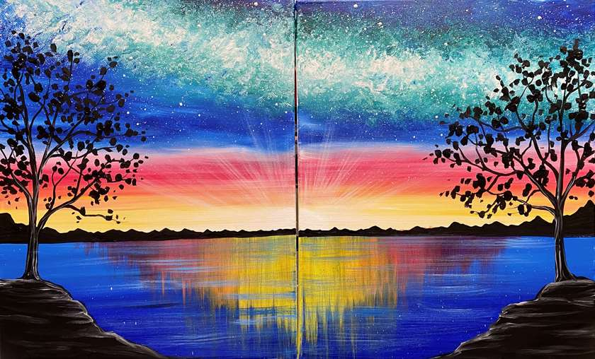 DATE NIGHT!  Paint on 1 canvas or 2 together