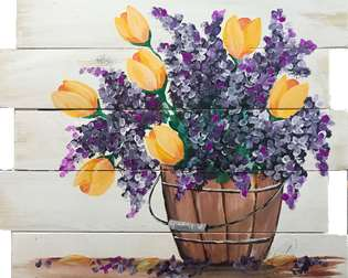 Country Tulips Wood Pallet