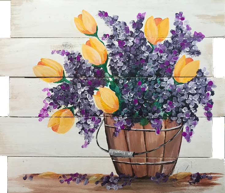 In Studio Event  - Country Tulips Wood Pallet