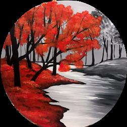 Crimson River on wood round