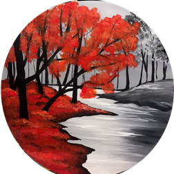 Crimson River on wood round