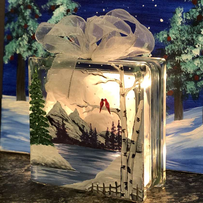 IN STUDIO CLASS: CRYTAL WINTER - GLASS BLOCK WITH RIBBON AND LED LIGHTS