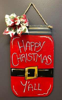 Custom Door Hanger - Holiday Mason Jar