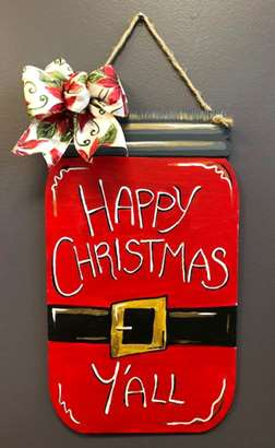 Custom Door Hanger - Holiday Mason Jar