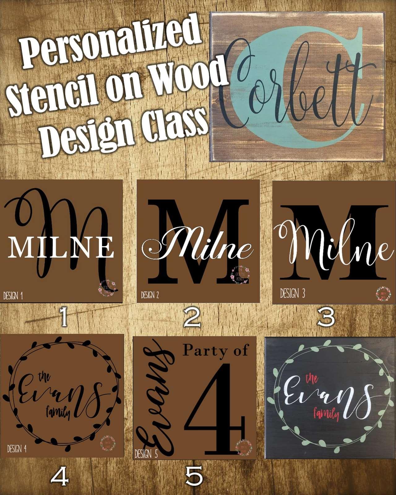 Custom Stencil on Wood Design Class - Mon, Nov 13 7PM at Exton