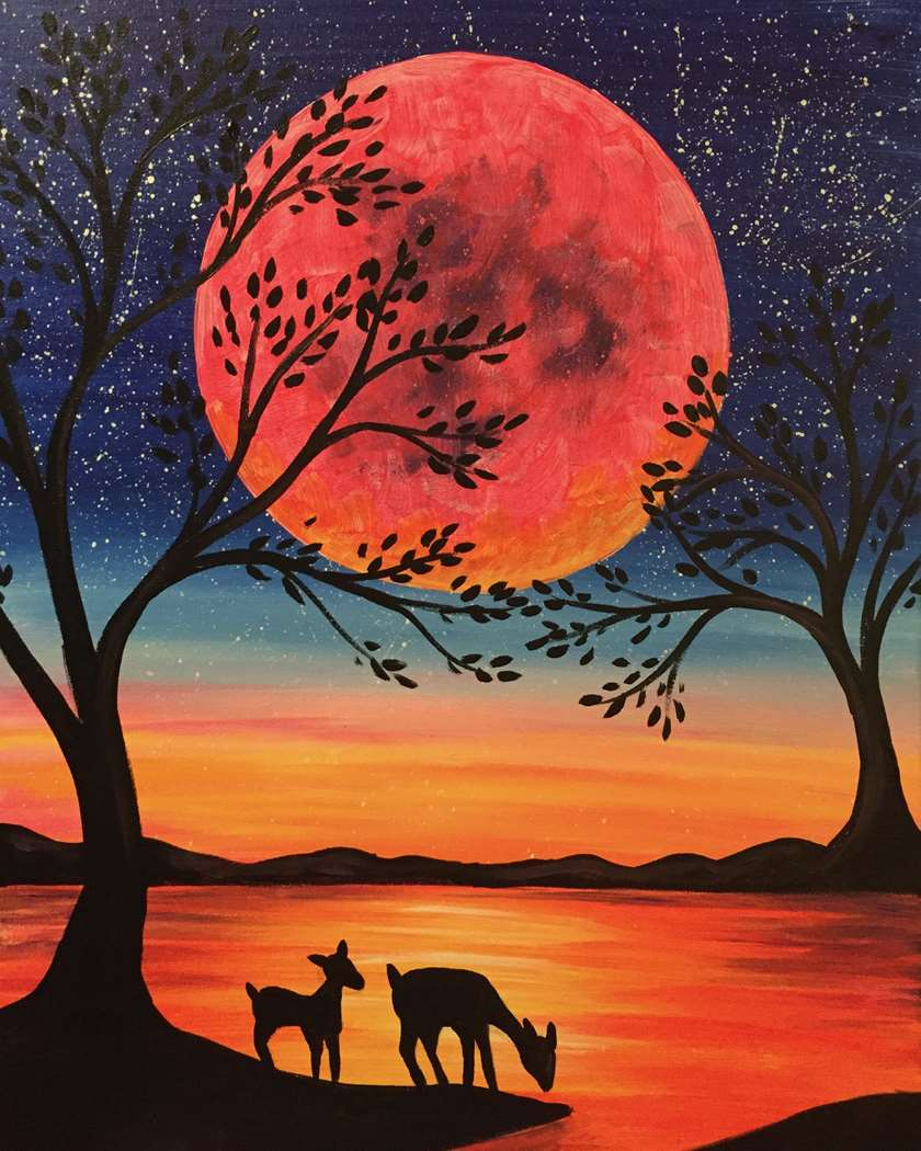 DEER IN THE MOONLIGHT - CHOOSE YOUR SURFACE AND SIZE