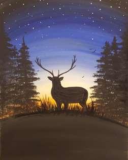 Deer on the Horizon at Dusk