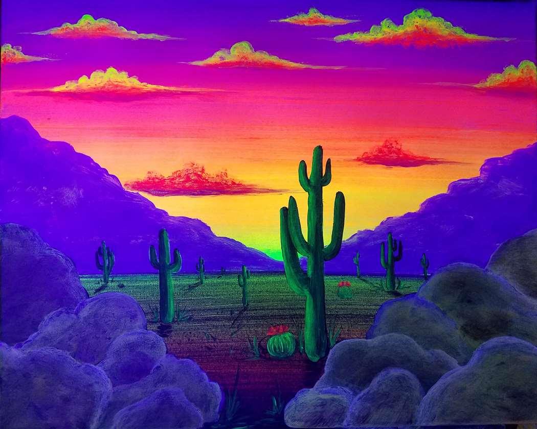 Desert Aglow at Dusk (under blacklight)