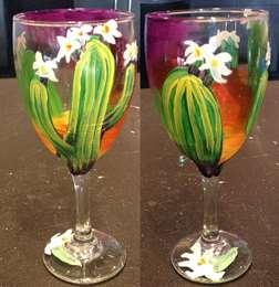 Desert Flowers Wine Glass Class