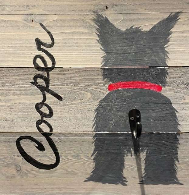 """12"""" x 12"""" Wood Dog Leash Holder - Customizable! Register by 5/25"""