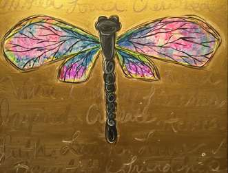 Dragonfly Dreaming in Gold