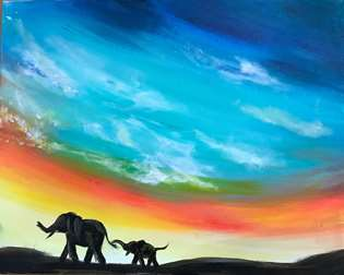 Elephants at Dusk