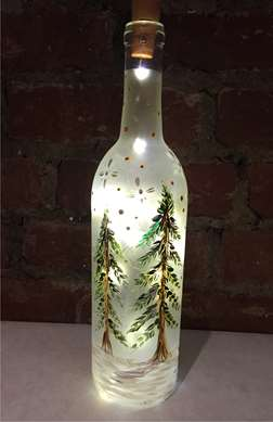 Evergreen Wine Bottle with Lights