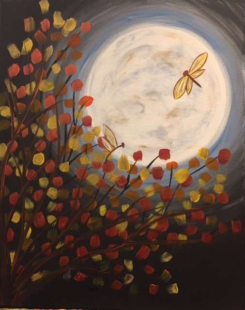 Fall Moon Dragonflies