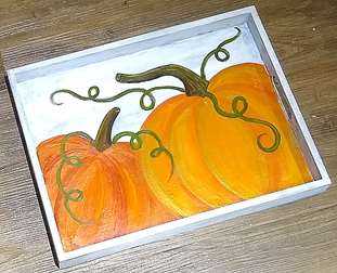 Fall Pumpkin Wood Tray