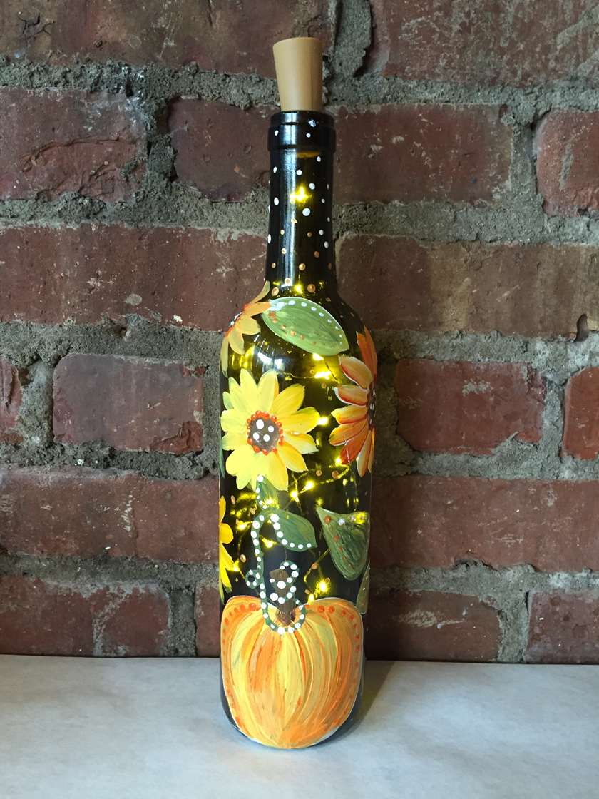 Fall Wine Bottle with Lights  -  Live Virtual Event or Watch Recording Later