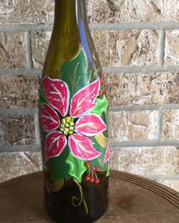 Festive Poinsettias on a Wine Bottle
