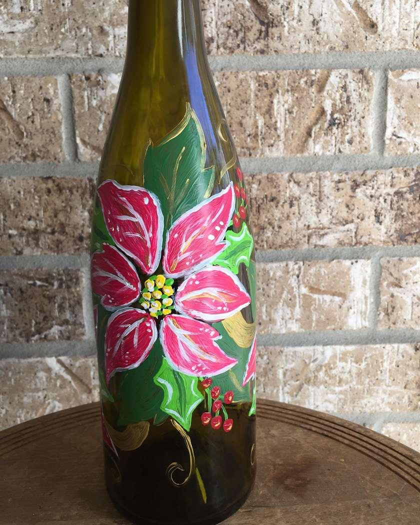 Festive Poinsettias on a Wine Bottle