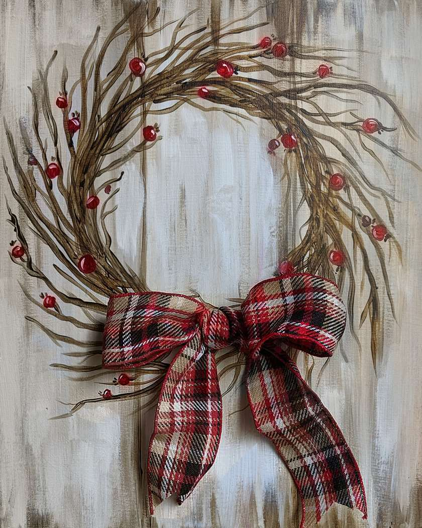 Festive Winter Wreath - Ribbon Colors May Vary